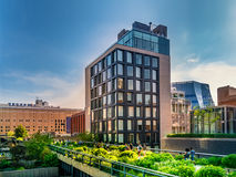 The High Line Park in Manhattan New York. The urban park is popular by locals and tourists built on the elevated train tracks. Manhattan, New York City - June Stock Image