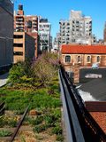 The High Line Park in New York City. A section of New York City's High Line Park, on the West Side, in Chelsea on a spring day Stock Images