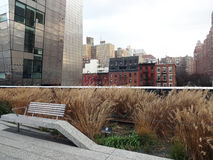 High Line Park in New York City. The elevated park in the Chelsea neighborhood of New York City was once abandoned train tracks Stock Image