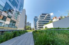 High Line Park. NEW YORK CITY - JULY 22: People walk along the High Line Park on July 22, 2014. The High Line is a popular linear park built on the elevated Royalty Free Stock Photo
