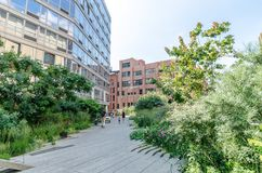 High Line Park. NEW YORK CITY - JULY 22: People walk along the High Line Park on July 22, 2014. The High Line is a popular linear park built on the elevated Royalty Free Stock Photos