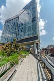 High Line Park. NEW YORK CITY - JULY 22: Scenic views of the High Line Park on July 22, 2014. The High Line is a popular linear park built on the elevated former Stock Image
