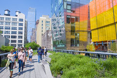 High line park in New York. NEW YORK CITY - MAY 28 : The High Line Park in NYC on May 28, 2016. The High Line is a public park built on an historic freight rail Stock Image