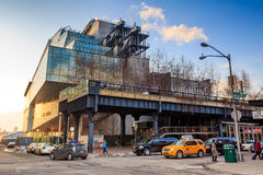 High Line Park in NYC. NEW YORK CITY - FEB 13: High Line Park in NYC seen on February 13, 2015. The High Line is a public park built on an historic freight rail Stock Image