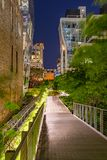 The High Line promenade at night, Chelsea, Manhattan, New York City Royalty Free Stock Photo