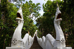 High and Long Walkway. Ladders lead to the Temple on the Mountain Royalty Free Stock Photo