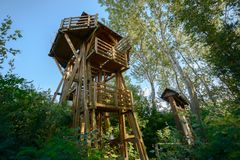 High lookout tower in the forest Royalty Free Stock Images
