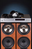 High loudspeaker tower with cd player Royalty Free Stock Photo