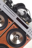 High loudspeaker tower with cd player Royalty Free Stock Photos