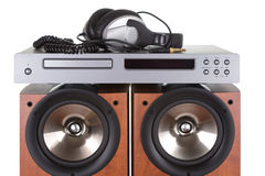 High loudspeaker tower with cd player Stock Photo