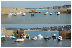 High and low tide at St Michaels Mount royalty free stock images