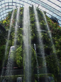 High and Low Waterfalls. Multiple waterfalls. High and low. Gardens By The Bay, Singapore Royalty Free Stock Photos