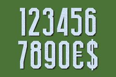 High marble numbers with currency signs of American dollar and euro. Vector symbols with halftone shadow.  vector illustration