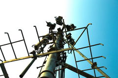 High mast metal structure telecommunication on tower with blue sky. Royalty Free Stock Photos