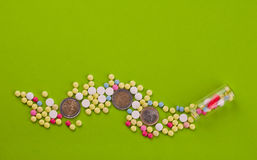 High medical cost. Pills and tablets with Euro coins on paper Stock Photos