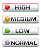 High-medium-low-normal-boards. Danger board with high, medium, low, normal label. Isolated Royalty Free Stock Images