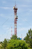 High metal tower for of television broadcasting Royalty Free Stock Photos