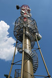 High metal TV tower with  satellite Stock Photography