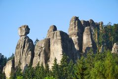 High and mighty sandstone rock towers in Adrspach Royalty Free Stock Photography
