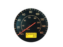 High Mileage Odometer Isolated on White Royalty Free Stock Photo