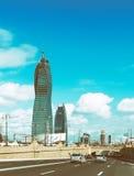 High modern building in Baku city. Socar tower Royalty Free Stock Photos