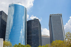 High modern skyscrapers. On a background of the blue sky and cloud Royalty Free Stock Image