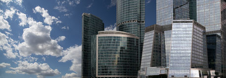 High modern skyscrapers over blue sky, Moscow, Russia Stock Photos