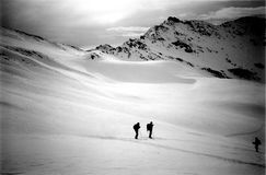 High mountain. Ski hikking in the Alps Royalty Free Stock Photography