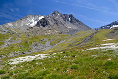 High mountain in Alps. High mountain with snow in French Alps Royalty Free Stock Photos