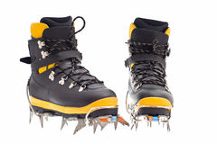 High mountain boots with crampons Royalty Free Stock Photography