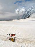 High mountain climbing base camp in Bezenghi Caucasus mountains stock image