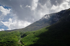 High mountain at cloudy daytime. Beautiful nature landscape Royalty Free Stock Photo