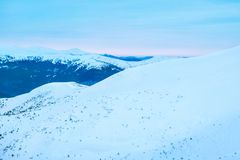 High mountain forests and hills, large plains. Sunset in the mountains Royalty Free Stock Images