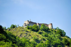 High mountain fortress. Poienari fortress in the Romanian mountains Stock Images