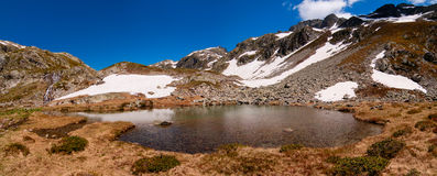 High mountain fresh water lake. Natural fresh water lake high in the Alps mountains Stock Images