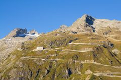 High mountain Furka Pass road in the Swiss Alps Stock Images