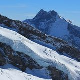 High mountain and glacier, view from the Jungfraujoch viewpoint. Impressive scenery in the Swiss Alps stock image
