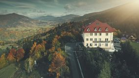 High mountain hotel nature scenery aerial view royalty free stock photos