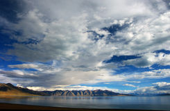 High Mountain and Lake Manasarovar Royalty Free Stock Photo