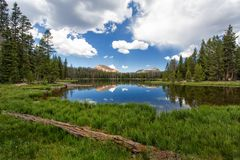 At Peace. High mountain lake with the reflection of the clouds, sky and mountains Stock Photography