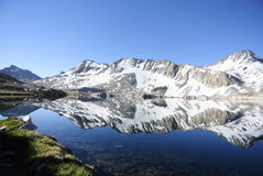 High mountain lake snow reflection  Stock Image