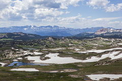 High mountain lakes and snowbanks Royalty Free Stock Photo