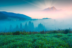 High mountain in a light of sunrise Stock Images