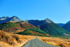 High mountain in New Zealand. With road stock image