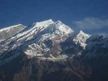 High mountain next to Dhaulagiri. Annapurna Conservation Area, Nepal royalty free stock photography