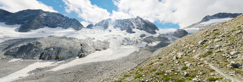 High mountain panorama with glacier royalty free stock photography