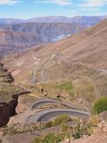 High mountain pass with curvy road stock photography