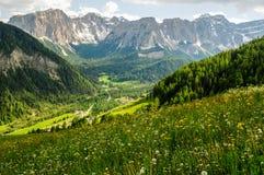 Mountain landscape. Italy - Trentino Alto Adige - San Martino in Badia (Sankt Martin in Thurn in German, San Martin de Tor in Ladino) is an Italian town of 1,726 stock photo