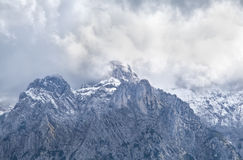 High mountain peak in clouds, Bavarian Alps Stock Images