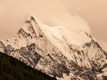 High mountain peak covered with fog Royalty Free Stock Images